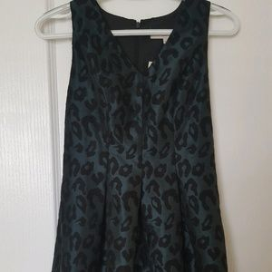 LOFT Green Leopard Print Cocktail Dress